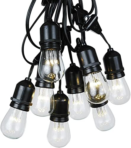 37.5 Foot S14 Edison Outdoor String Lights Suspended – Commercial Grade – Backyard Garden Gazebo Cafe Market String Lights Vintage Patio String Lights Black Wire – 25 S14 LED Bulbs