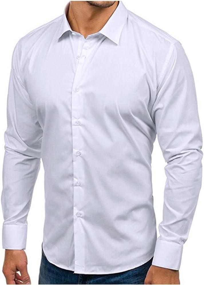 Sunnyuk Camisas De Manga Larga De Los Hombres Color Sólido Regular Manga Larga Casuales Botón Abajo Clásico Vestido Camisa: Amazon.es: Deportes y aire libre