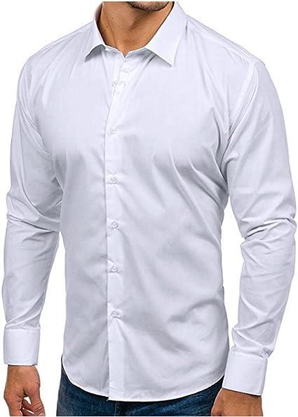VPASS Hombre Camisas, Manga Larga Camisas Formales Casual Color Sólido Negocios Camisa de Moda Slim Fit Long Sleeve Blusa Tops Botón Shirt básica: Amazon.es: Ropa y accesorios