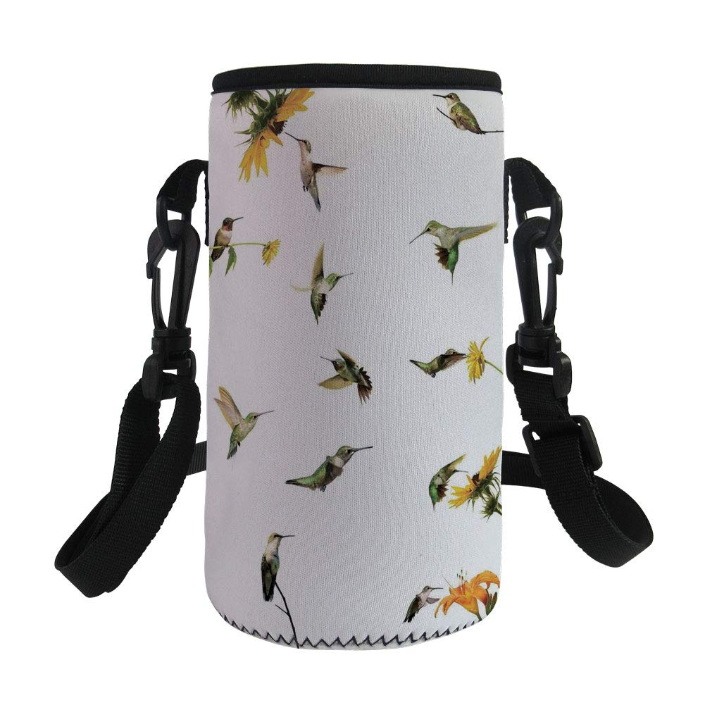Small Water Bottle Sleeve Neoprene Bottle Cover,Hummingbirds Decor,Collection of Hummingbirds in Motion and at Rest Sunflowers Summer Fun,Great for Stainless Steel and Plastic/Glass Bottles, Sport an
