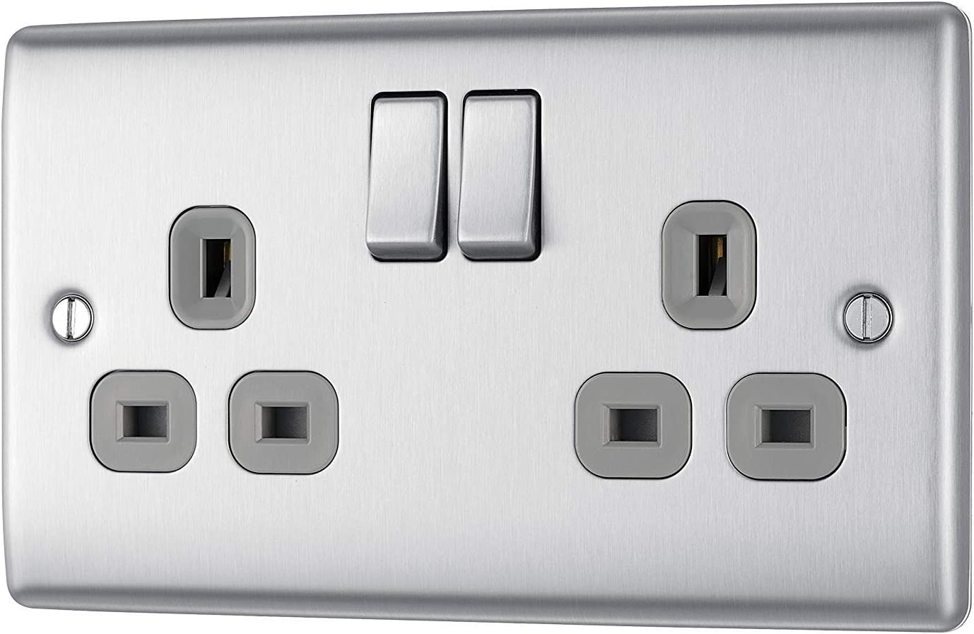13 A BG Electrical Double Switched Fast Charging Power Socket with Two USB Charging Ports Brushed Steel with White Inserts