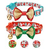 Blueberry Pet Pack of 2 Cat Collars, The Power Lavish Holiday Perfect Snowman Adjustable Breakaway Cat Collar Bow Tie & Bell, Neck 9''-13''