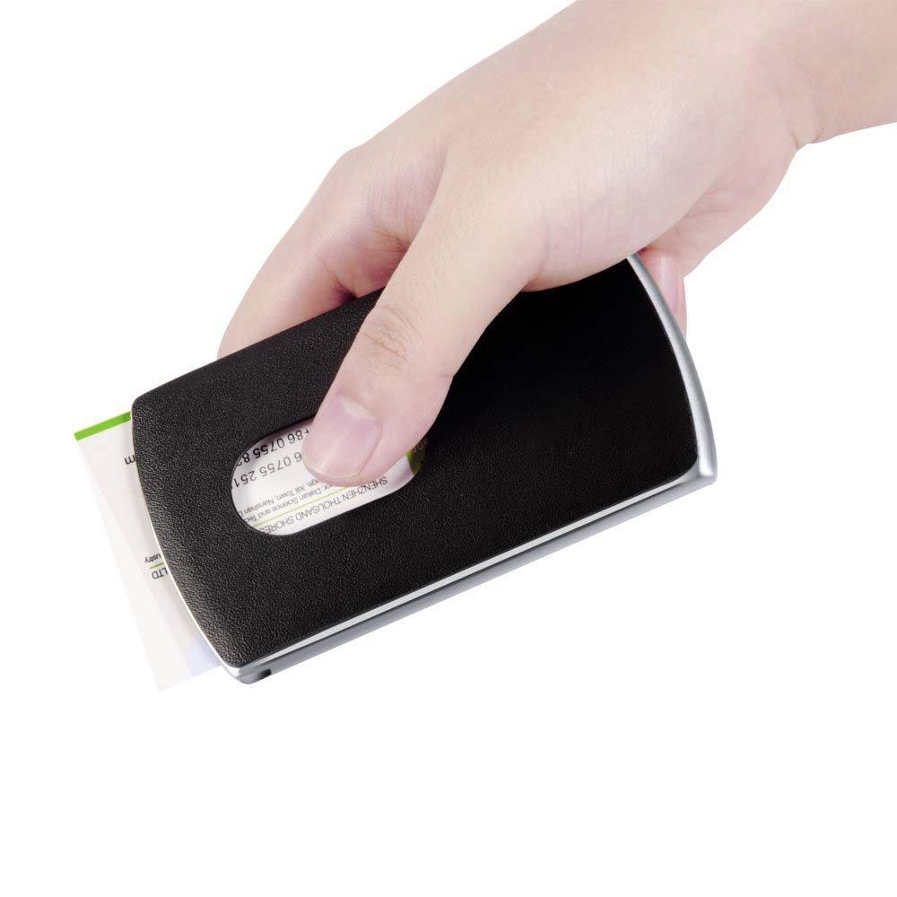 Gearmax® dauerhaftes & schmales Design Karte Halter Visitenkartenhalter Edelstahl-Kasten-Leder-Verpackungs-Kasten, einfaches und großzügiges Visitenkarten-Etui, Schwarz - Ideales Geschenk