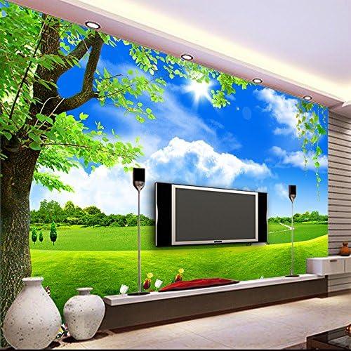 Custom 3D Mural Wallpaper Blue Sky White Cloud Tree Scenery sala de estar sofá de fondo de paja no tejido Wallpaper Wallpaper Mural 250X175Cm: Amazon.es: Bricolaje y herramientas