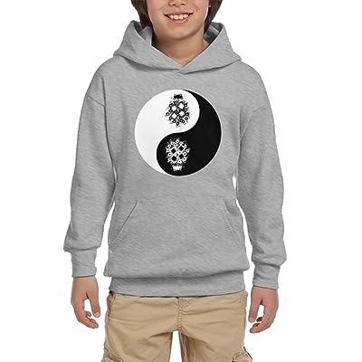 Bonsai Tree Yin Yang Youth Pullover Hoodie Athletic Pocket Sweatshirts