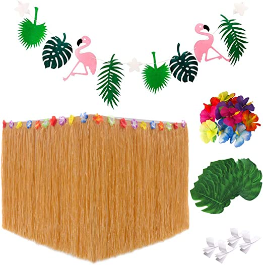 Falda hawaiana mesa, Decoraciones Flamingo Party Banner Hojas de ...