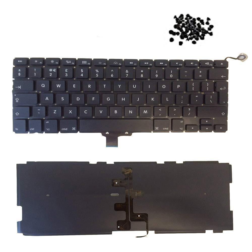 Qualitativ hochwertige Ersatz-Laptop-Tastatur f/ür MacBook Pro Unibody 13,3 Zoll Hintergrundbeleuchtung + 80 Schrauben 2011 2012. 2010 A1278-Tastatur Modell der Jahre 2009 britisches Layout