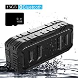 Outdoor Waterproof Bluetooth Speakers with Wireless,Loud Portable Bluetooth Speaker with Superior Bass,Stereo,20W Loud Volume,Built in Dual Mic,TWS,24Hours Playtime, 3600mAh,Black,(16GB TF card),SHIDU