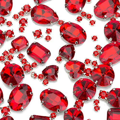 130PCS Red Sew on Glass Rhinestone with Hole Silver Prong Setting Flatback Claw Mix Shape - 30 PCS Large Sew on Diamond and 100 PCS Small Tiny Sew Gems - for Dress, Cloth, Shoes, Swimsuit (Red Craft Gems)
