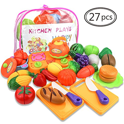 HEHALI 27pcs Fun Cutting Toys Fruits Vegetables Pretend Food Playset Educational Toy for Children Kids