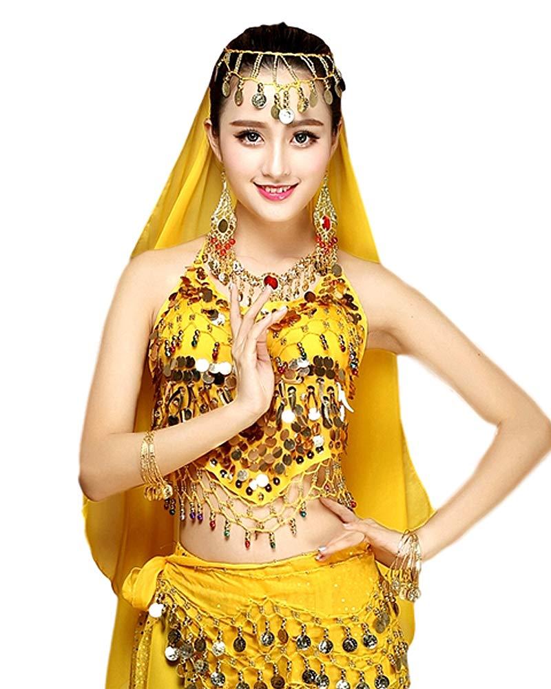 Grouptap Danzatrice del Ventre da Donna Set di Costumi in 4 Pezzi Vestito Rosso//Blu//Giallo con Pantaloni Alti Sciarpa per Il Velo sulla Testa per la Danza araba egiziana