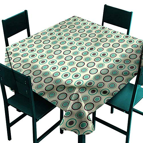 (DONEECKL Polyester Tablecloth Retro Polka Dot Pastel Pattern and Durable W70 xL70)