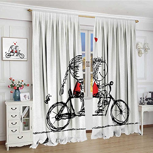 smallbeefly Bicycle Thermal Insulating Blackout Curtain Children Love Couple Cycling Together Soul Mates Valentines Sketchy Print Patterned Drape For Glass Door 72