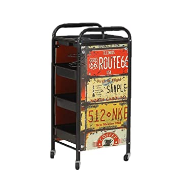 Amazon.com : MJHY Retro Hairdresser Beauty Trolley Trolley Barber Shop Dyeing Tool Car Hair Salon Trolley Bar Four Floors, Metallic : Beauty