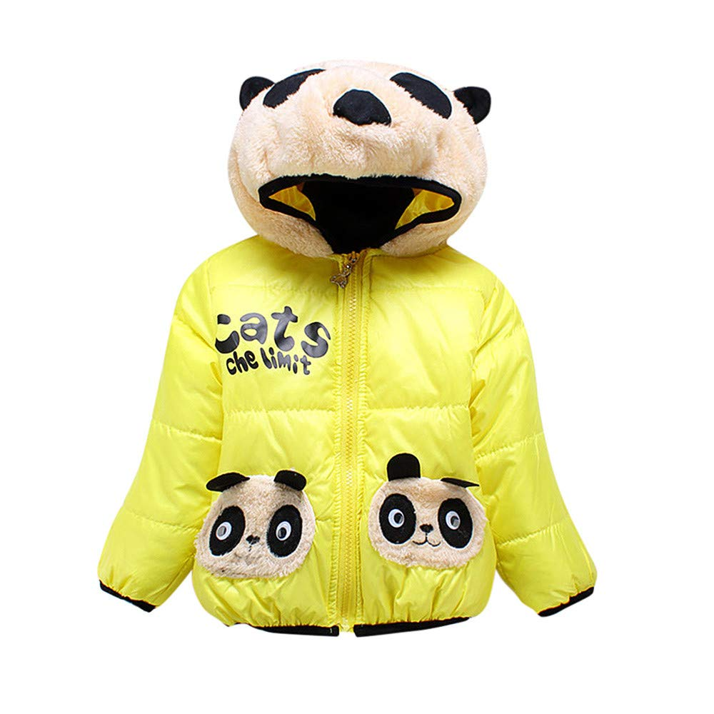 Little Kids Winter Warm Coat,Jchen(TM) Clearance! Baby Kids Little Girl Boy Autumn Winter Warm Cute Cartoon Pandan Outerwear Kids Jacket Coat for 1-3 Y (Age: 3-4 Years Old, Yellow)
