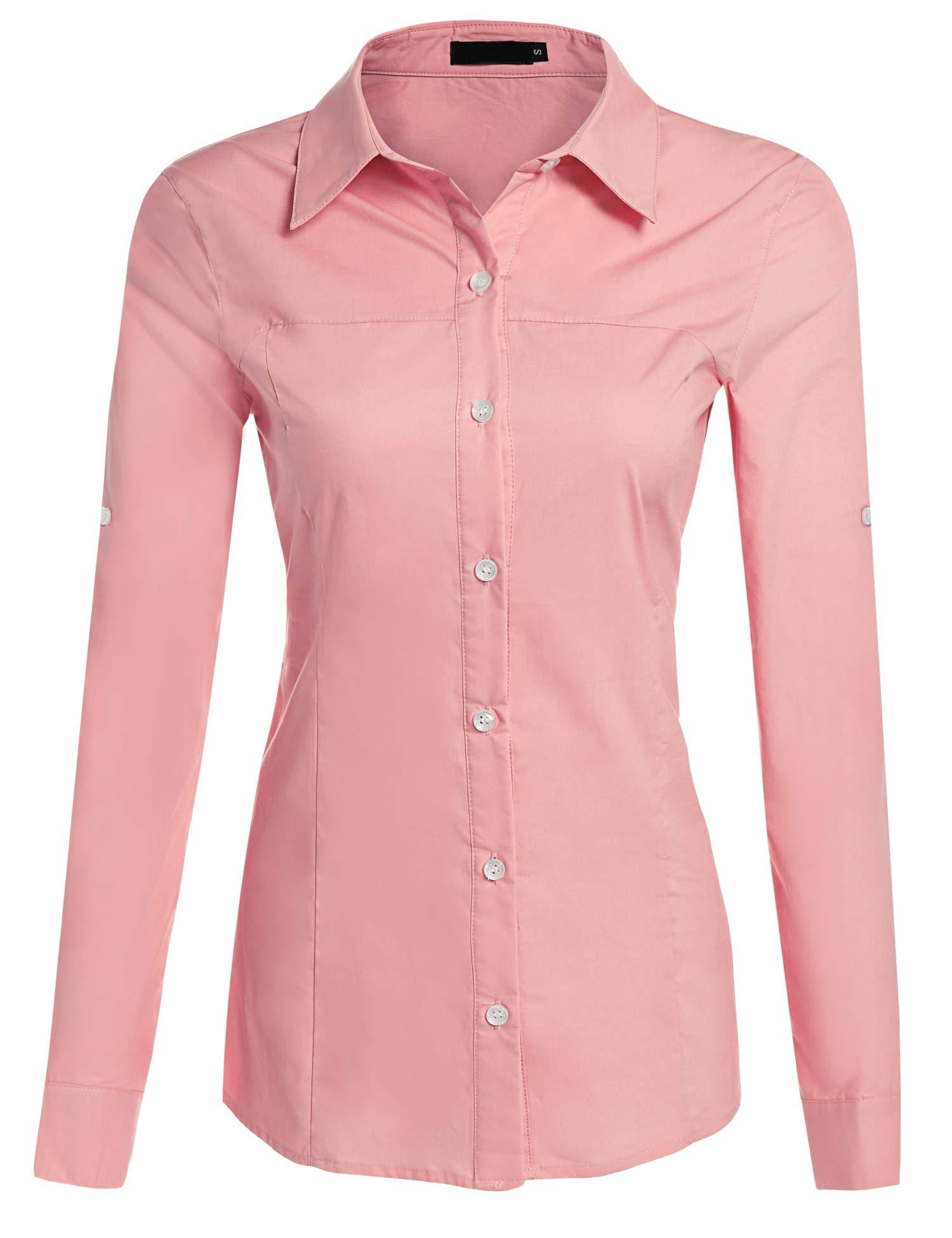 Hotouch Women's Basic Blouse Shirt Roll Up Long Sleeve Solid Cotton Shirt (Pink XL)