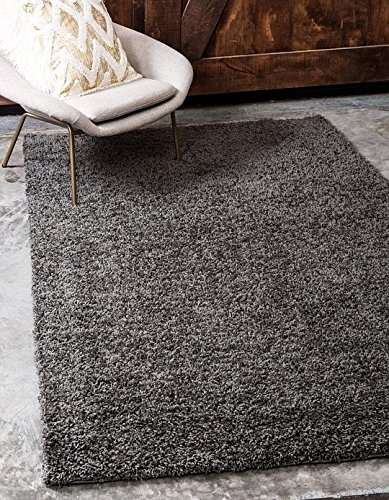 Unique Loom Solid Shag Collection Graphite Gray 5 x 8 Area Rug (5' x 8') from Unique Loom