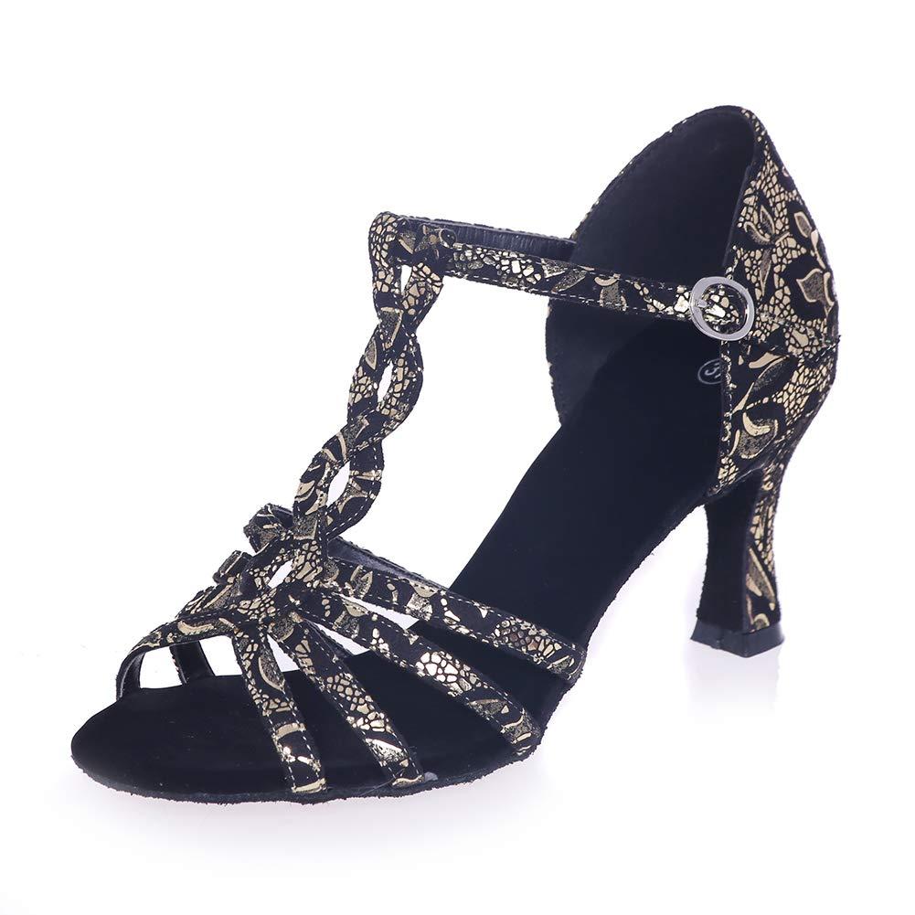 Impression Noeud Clair synthétique Chaussures de Danse Latine Dames de Mariage Sandales or(heel 7.5cm) 37EU