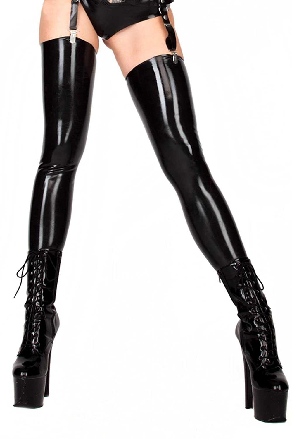 ce98bf41fa2 Amazon.com  ECOSPLAY Women s Fetish Range Latex Rubber Black Thigh-high  Stockings  Clothing