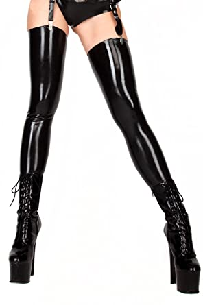 a9282e5cc Amazon.com  ECOSPLAY Women s Fetish Range Latex Rubber Black Thigh-high  Stockings  Clothing