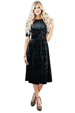 mikarose vixen modest dress in black velvet modest christmas dress modest holiday dress in - Black Christmas Dress