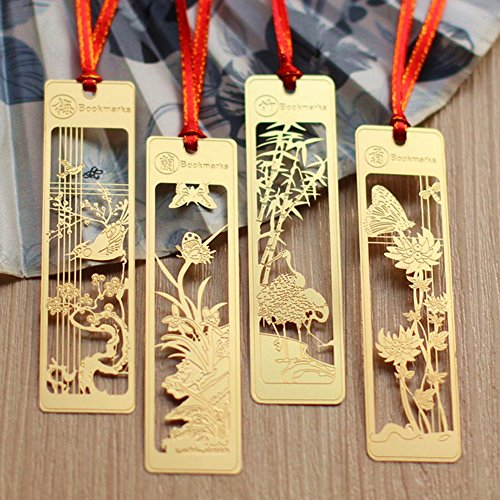 Olpchee Pack of 4 Chinese Style Brass Hollow Retro Template Ruler Stencils Bookmarks of Plum Orchid Bamboo Chrysanthemum