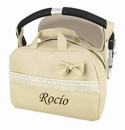 Bolso polipiel carrito bebe. Personalizado con nombre bordado- Danielstore (beige)
