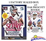 #6: 2017 Score NFL Football EXCLUSIVE Factory Sealed Retail Box with 132 Cards & SPECIAL MEMORABILIA Card Plus BONUS 2016 DAK PRESCOTT ROOKIE! Includes 20+ INSERT & 30+ RC Cards of Top NFL Picks! WOWZZER!