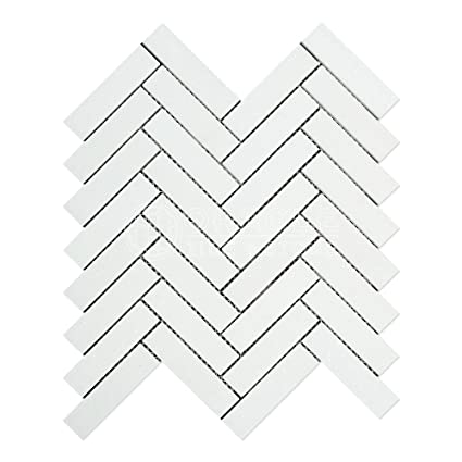 Thassos White Greek Marble  Herringbone Mosaic Tile Honed