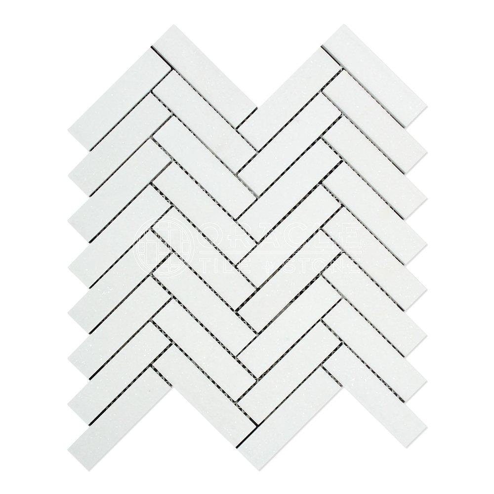Thassos White Greek Marble 1 X 4 Herringbone Mosaic Tile, Polished