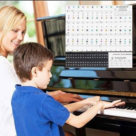 IGRMVIN Pegatinas Transparentes para Piano o Teclado Etiqueta de Piano de Teclas de 88/61/54/49/37 Pegatinas de Notas Musicales para Niños y ...