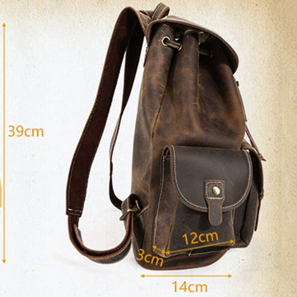 Qiupei Backpack for Men Mens Leather Backpack Fits 16 Inch Laptop Vintage Business Backpack Canvas Rucksack School Bag Waterproof Travel Rucksack Hiking Travel Backpack Rucksack School Bag
