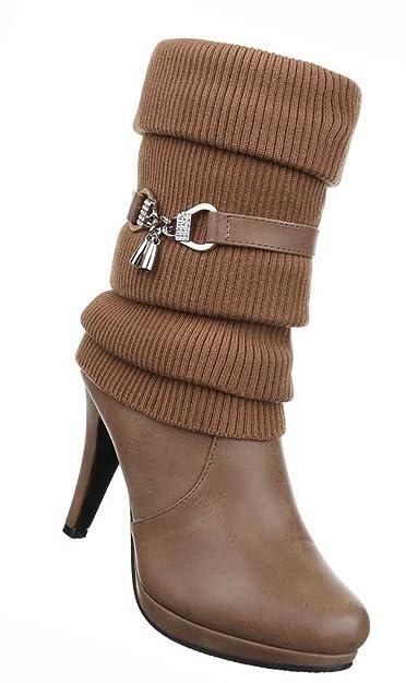 Neu Damen Stiefel Stiefeletten Boots in Lederoptik Größe 36 37 38 39 40 41