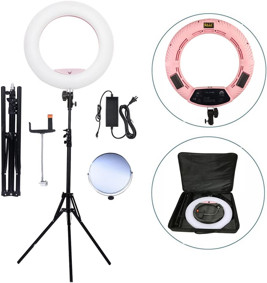 Light Stand Mirror Two Batteries/&Chargers Carry Bag Phone//Camera Holder Yidoblo 96W 18 LED Ring Light Kit FE-480II Pink Video Studio Portrait Selfie Makeup YouTube Lighting Bicolor with Remote