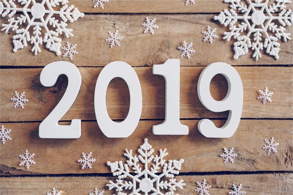 Yeele 10x8フィート Happy New Year 背景幕 2019年の背景 写真 雪の結晶 ヴィンテージ 木製ボード 背景 子供 男の子 大人 写真ブース 撮影 ビニール スタジオ 小道具   B07K7ZZHV5
