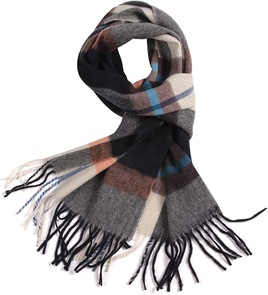 WAMSOFT 100% Pure Wool Scarf, Thick Long Plaid Tartan Lambswool Fall/Winter Scarves for Men Women