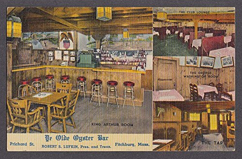 Ye Olde Oyster Bar King Arthur Room Fitchburg MA Postcard 1930s