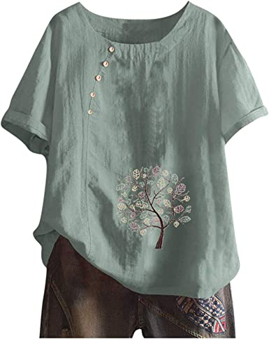 Linen Blouse for Women Summer Loose Floral Print Short Sleeve Cotton Shirts T Shirt Casual Tops Tees Plus Size M-5XL