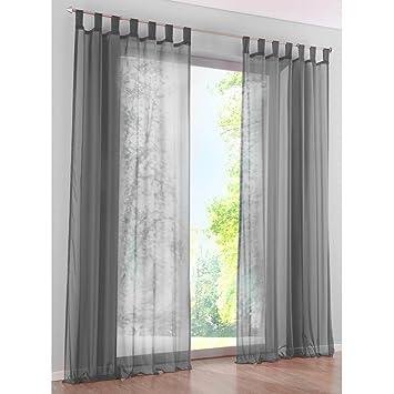 Amazon.de: KOU-DECO Schlaufen Gardinen Polyester Transparent Voile ...