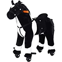 Qaba Kids Plush Ride On Toy Walking Horse with Wheels and Realistic Sounds - Pink