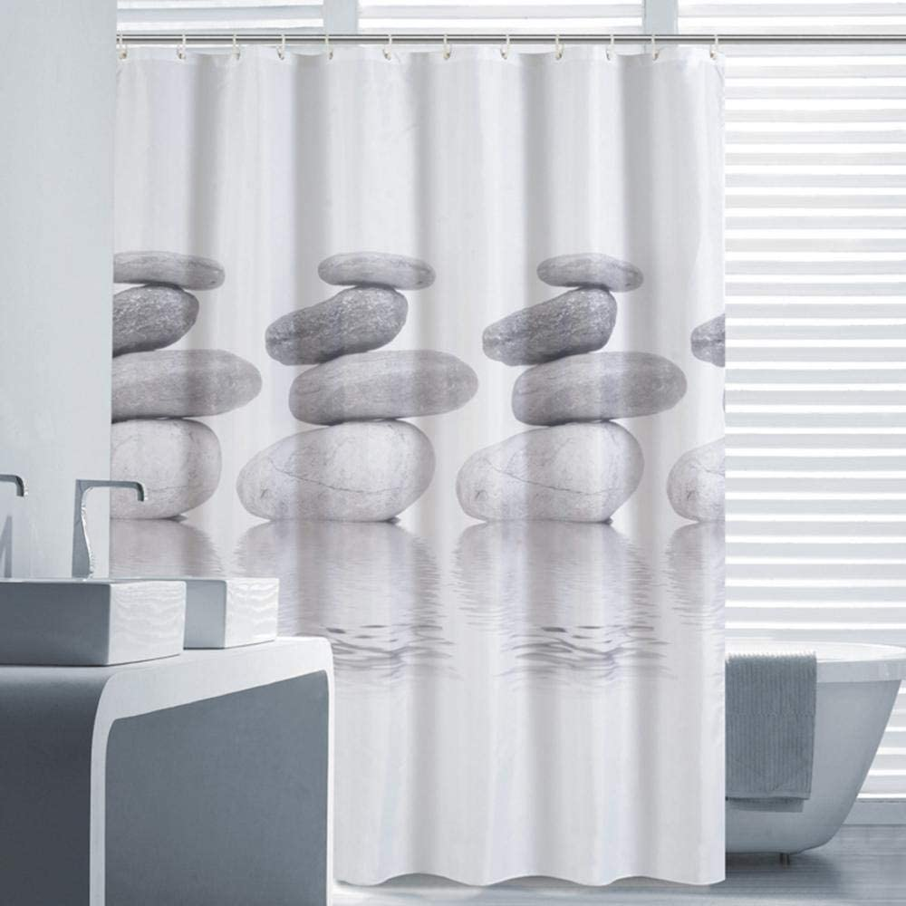 White Shower Curtain Grey Stones 180x180CM Shower Curtain 100/% Polyester Decorative Bathroom Curtains Waterproof Mold-Proof Anti-Bacterial with 12pcs Hooks Privacy Protection for Home and Hotel