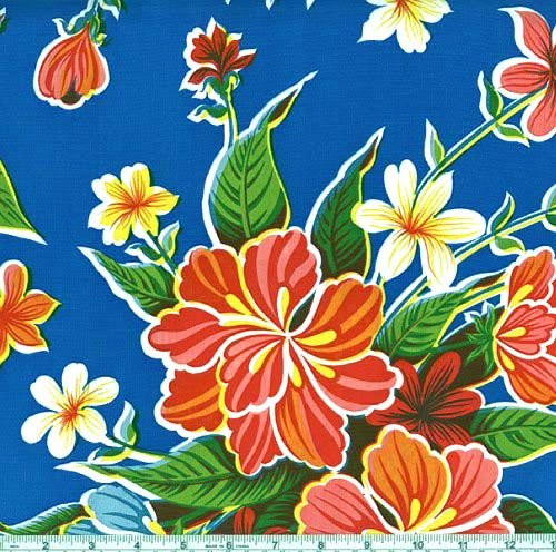 Oil Cloth Hibiscus Blue Fabric By The (Oilcloth By The Yard)