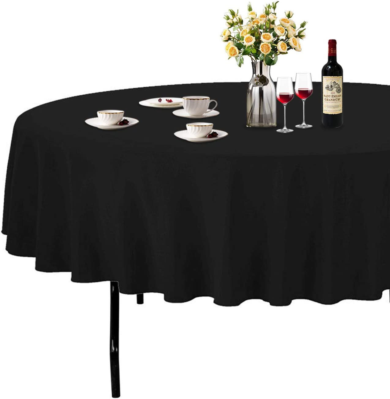 Amazon Com Abccanopy Round Tablecloth 90 Inch Table Cloths For Circular Cover Washable Polyester Great Buffet Parties Holiday Dinner Wedding More Home Kitchen