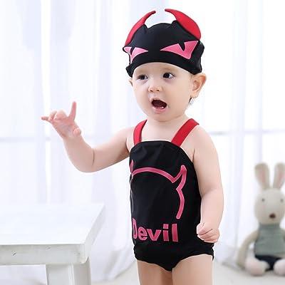 BERTERI One-Piece Cute Black Sling Devil Swimwear Swimsuit Bathing Suits Bikini for Baby Girls/Kid/Toddler/Infant/Children Take Photos Summmer Beach Outfit 0-8 Years Old