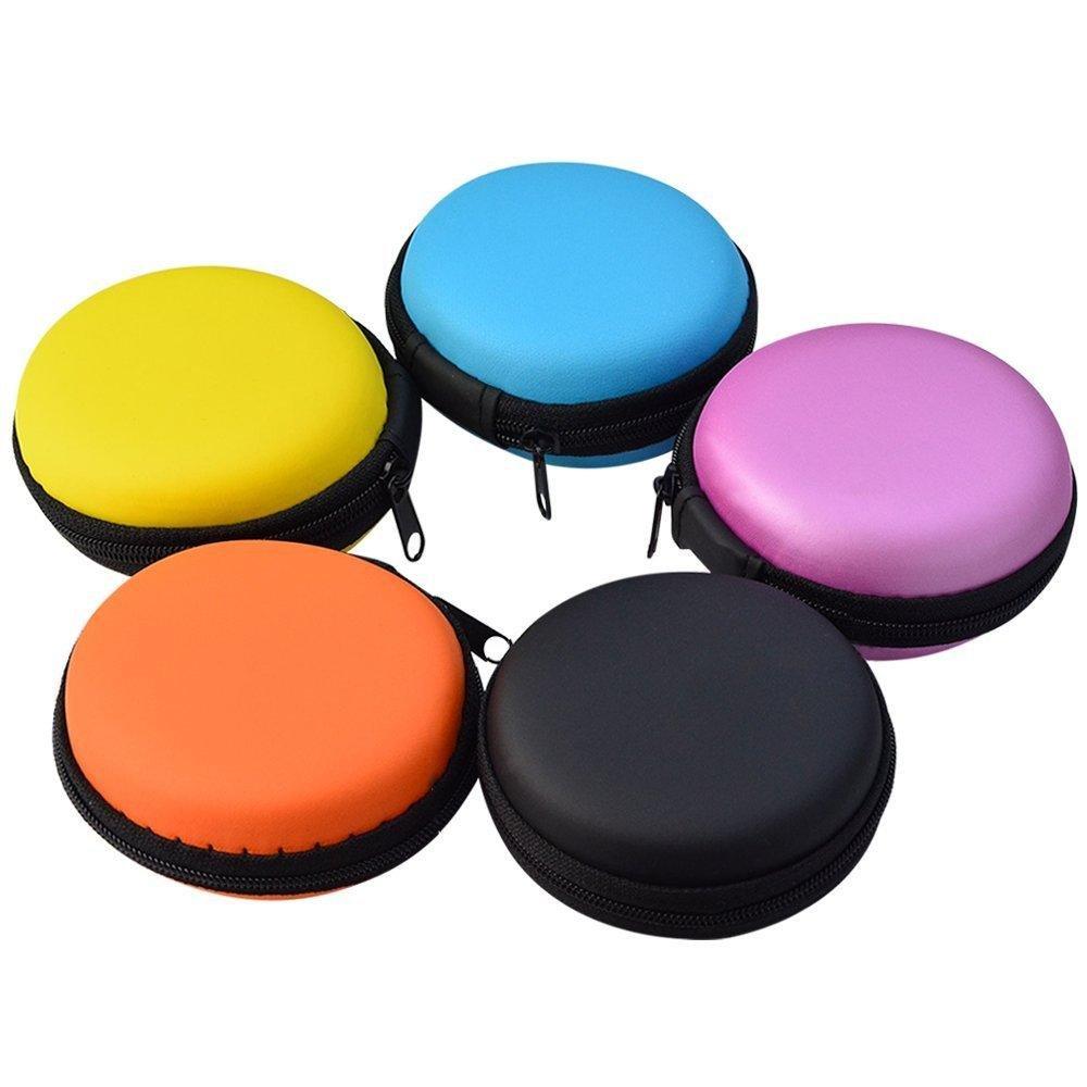 5点イヤホン携帯ケース、jmkcozラウンドシェイプキャリーハードEvaケースストレージバッグfor Earbudsイヤホンヘッドセット、USBケーブル、Bluetoothまたは有線ヘッドセットイヤホンミニストレージランダム色   B01LWLYTZD