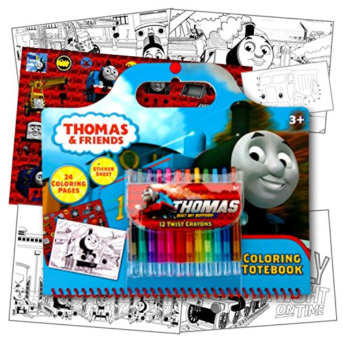 (Thomas the Train Coloring Activity Set With Twist Crayons, Coloring Book Activity Pages, & 1 Large Sheet of Stickers ~ Plus 1 Fun Separately licensed Coloring activity Sticker)