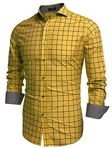 Coofandy Men's Fashion Long Sleeve Plaid Button Down Casual Shirts Gold XX-Large