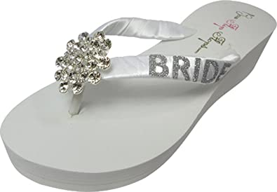 090611a87ba38 Large Jeweled Embellishment Glitter Wedding Flip Flops for The Bride Wedge Bridal  Ivory White Platform Heel