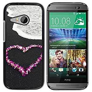 PC/Aluminum Funda Carcasa protectora para HTC ONE MINI 2 / M8 MINI Love Flower Heart Beach / JUSTGO PHONE PROTECTOR