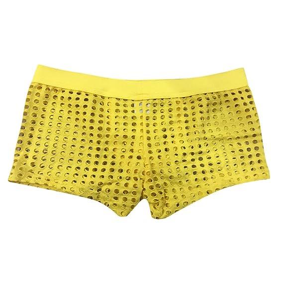 Mymyguoe Bóxers Hombre Bragas Pantalones Cortos De Ropa Interior Malla  ahuecada Bragas de Rejilla Hombre Slips Calzoncillos Hombre Underwear Sexy  Tangas ... 2adef8c3bb4f